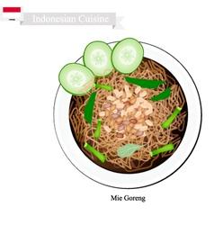 Mie Goreng Bami Goreng or Indonesian Fried Noodle vector image