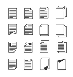 Paper document page icons set vector image