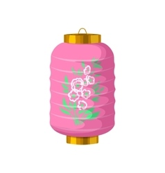 Pink chinese paper lantern icon cartoon style vector image vector image