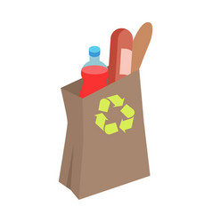 Recyclable paper bag with food isometric vector
