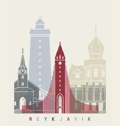 reykjavik v2 skyline poster vector image