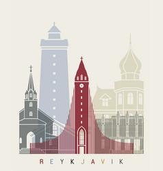 Reykjavik v2 skyline poster vector