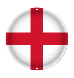 Round metallic flag of england with screw holes vector