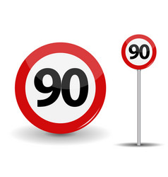 round red road sign speed limit 90 kilometers per vector image vector image