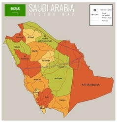 Saudi arabia map with selectable territories vector