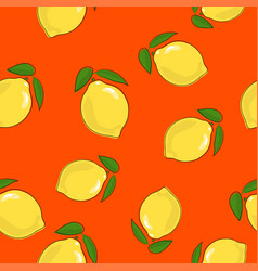 Seamless pattern lemon on orange background vector