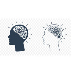 silhouette head with gears vector image