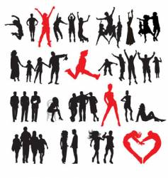 silhouettes of peoples vector image vector image