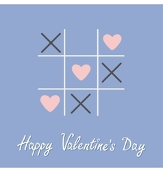 Tic tac toe game with cross and three heart sign vector