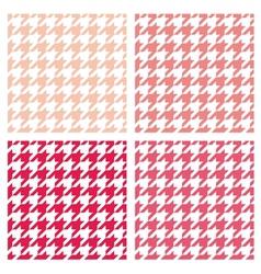 Tile pink houndstooth pattern or background set vector