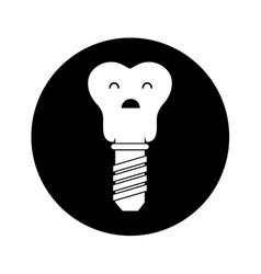 Tooth implant character icon vector