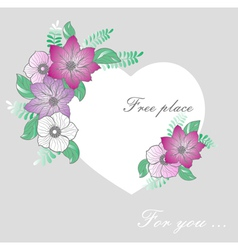 vignette heart of flowers vector image vector image