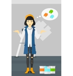Woman choosing paint color vector