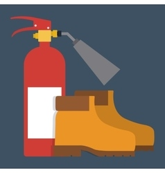 Extinguisher boots icon industrial vector