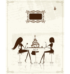 Fashion girls in cafe for your design vector