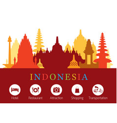 Indonesia landmarks skyline with accomodation vector