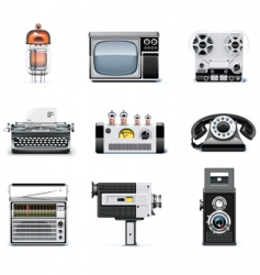 vintage technologies icon set vector image