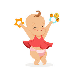 cute smiling baby girl playing with rattles vector image