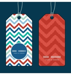 Colorful ikat chevron vertical round frame pattern vector