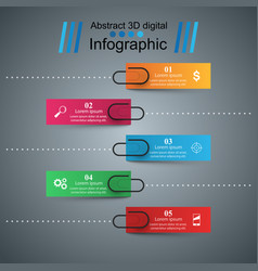 3d infographic design template and clip pin icons vector image vector image