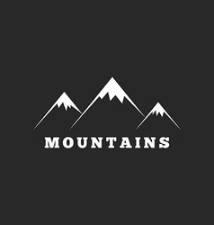 Mountains logo travel or tourism icon black and vector