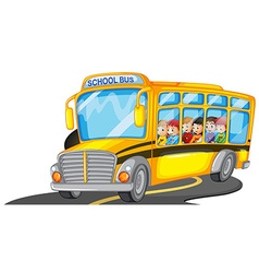 Boys and girls riding in school bus vector image