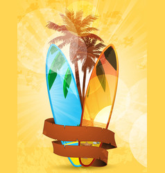 Tropical surfboard vector