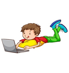 A coloured sketch of a boy using a laptop vector image