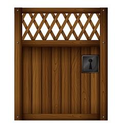 A wooden gate door vector