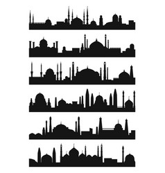 arabic architecture silhouette of mosque roof vector image vector image