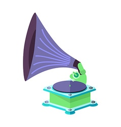 Bright flat old gramophone in eps vector