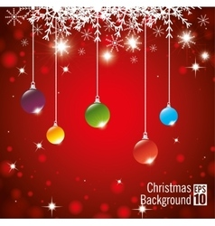 Christmas background hanging balls shining lights vector