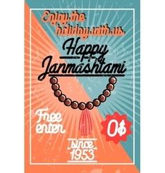 Color vintage janmashtami poster vector