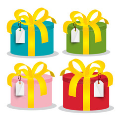 Colorful paper gift boxes set isolated on white vector
