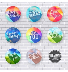 Colorful set of labels with long shadow vector image vector image