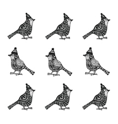 cristmas birds with hats zentagle pattern vector image vector image