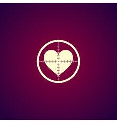 crosshair icon with a heart vector image vector image