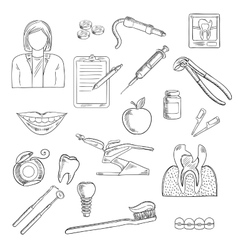 Dentistry and dental health icons vector image vector image