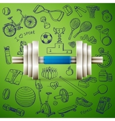 dumbbell and hand draw sport icon vector image vector image