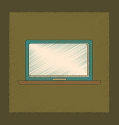 Flat shading style icon technology laptop vector
