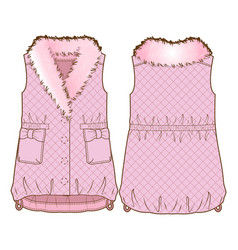 front and back sides of a vest vector image