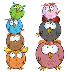 funny Owl cartoon group vector image