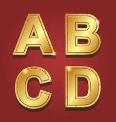 Gold letters alphabet font style A B C D vector image vector image