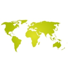 Green-yellow silhouette of world map vector image vector image