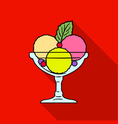 Ice cream in the glass bowl icon in flat style vector
