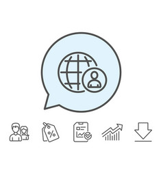 International business recruitment line icon vector