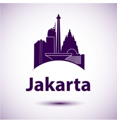 Jakarta Indonesia city skyline silhouette vector image
