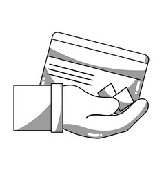 Line credit card electronic currency in the hand vector