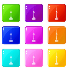 Namsan tower in seoul icons 9 set vector