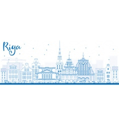 Outline riga skyline with blue landmarks vector